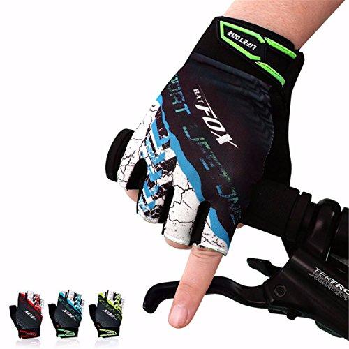 OUTERDO Unisex Mtb Fahrrad Radfahren Handschuhe Half Finger Atmungsaktive Stoßfeste Handschuhe Für Sommer Rad Sports Bike Blau L
