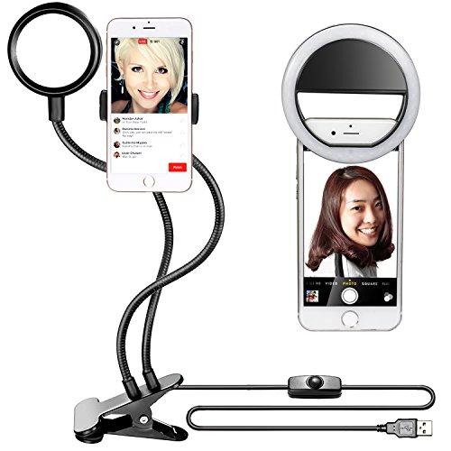 Neewer Luce LED Anulare da Selfie con Supporto Clip per Smartphone & Braccetto Gooseneck Lungo Flessibile (Luminosità a 3 Livelli) & Luce 36 LED Clip-on per Streaming in Diretta, YouTube, iPhone, Samsung (Nero)