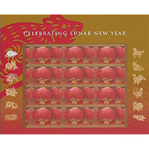 Celebrating Lunar New Year: Year of the Rat, Full Sheet of 12 x 41-Cent Postage Stamps, USA 2008, Scott 4221 by USPS