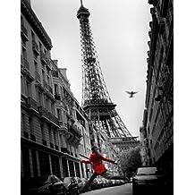 Empire 522771 Paris - La Vesta Rouge - Póster (40 x 50 cm), diseño de París con Torre Eiffel, color blanco y negro y rojo