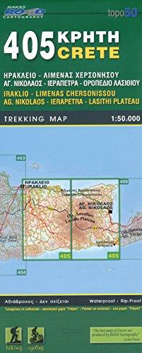 Iraklio, Limenas Chersonissou, Ag. Nikolaos, Ierapetra, Lasithi Plateau (Crète), 1:50 K, Carte de randonnée, GPS compatible 2014 édition, ORAMA, # 405