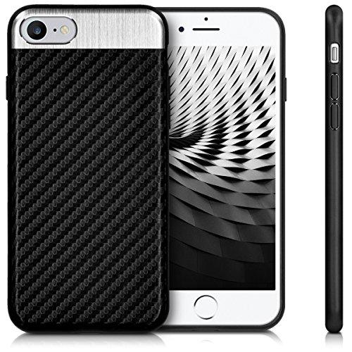 kwmobile Étui en TPU silicone élégant pour Apple iPhone 7 / 8 en petrol mat .noir argenté