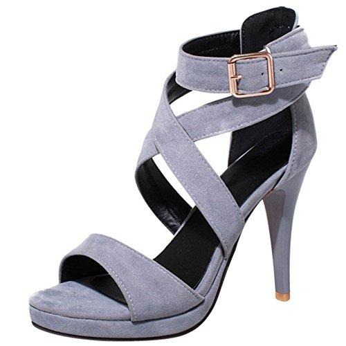 COOLCEPT Damen Mode Knochelriemchen Sandalen Stiletto Sommerschuhe Open Toe Grey