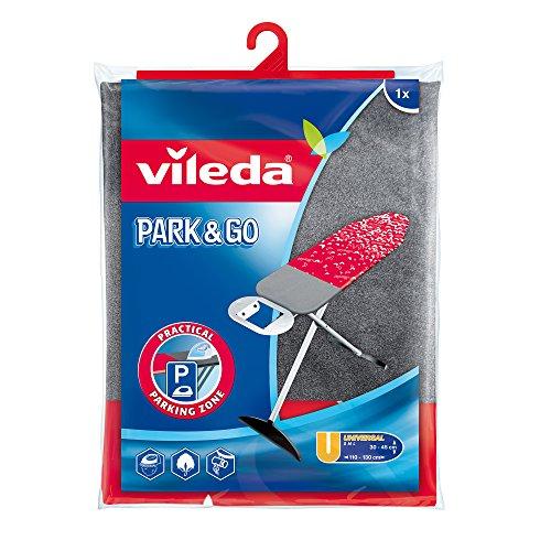 Vileda Viva Epress Park & Go Bügeltischbezug, rot-metallic, mit Kurzparkzone für das Bügeleisen
