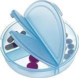 Pillendose rund mit 3 Fächern in hellblau