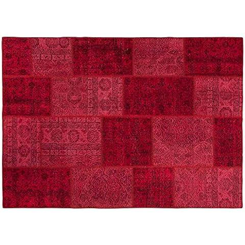 Merve: Red Patchwork persas recoloured Alfombras Tiendas Online, Extra grande, libre del envío (170cm x 240cm / 5' 6.9'' x 7' 10.4'')