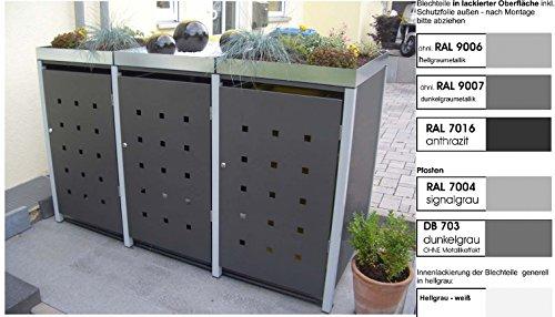 Metall Mülltonnenbox für 3 Tonnen RAL grau / anthrazit, Müllcontainer, Müllbox. Made in Germany. # Größe: Für 3 Tonnen bis 240 l # Farbe: Farbenauswahl per EMail angeben # Dach: Mit Pflanzwanne # Stanzung: ST 3/5