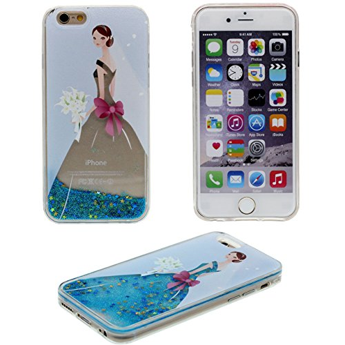 iPhone 6 Coque Protection Case, Eau Liquide Style Original Conception Belle Motif (Couleur peut changer) Beau Rigide Transparent Housse de protection pour Apple iPhone 6S / 6 4.7 inch bleu