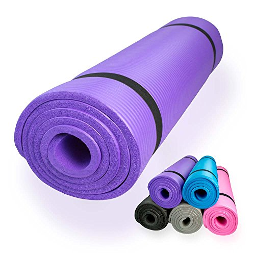 diMio - Esterilla de yoga o pilates, 185 x 60 cm, 5 colores, 2 grosores, antideslizante - morado - 185 x 60 x 1.5 cm