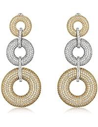 Shaze Silver Brass 2 Toned Loop Earrings for Women