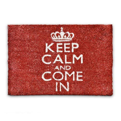 Relaxdays - Felpudo Keep Calm and Come In para la Entrada de su hogar Hecho de Fibras de Coco y PVC...