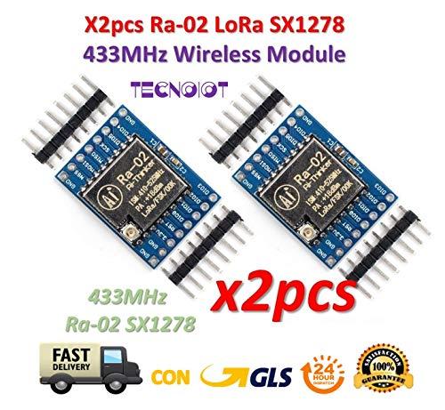 TECNOIOT 2pcs SX1278 LoRa 433MHz Ra-02 Wireless Spread Spectrum  Transmission Socket Ra02