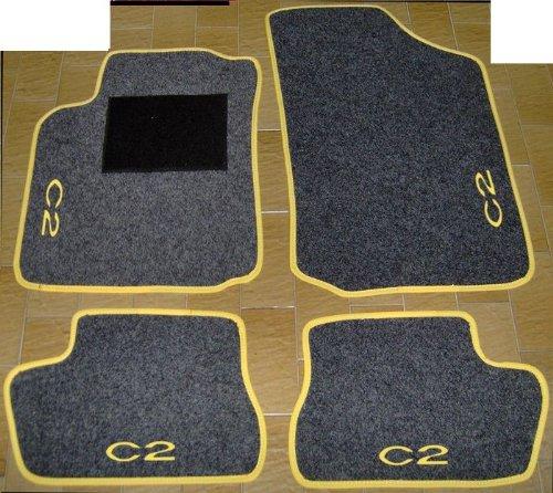 Citroen C2Alfombras Gris Antracita con borde amarillo para coche, juego completo de alfombras de moqueta sobre tamaño con bordado de hilo amarillo