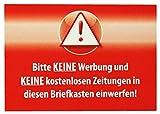10 x Bitte keine Werbung und Keine kostenlosen Zeitungen in diesen Briefkasten einwerfen! Aufkleber Wetterfest Top Qualität - Rot