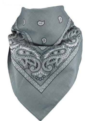 Harrys-Collection Bandana Bindetuch 100% Baumwolle 1 er 6 er oder 12 er Pack!, Farbe:dunkelgrau (Blau Grau Rot)