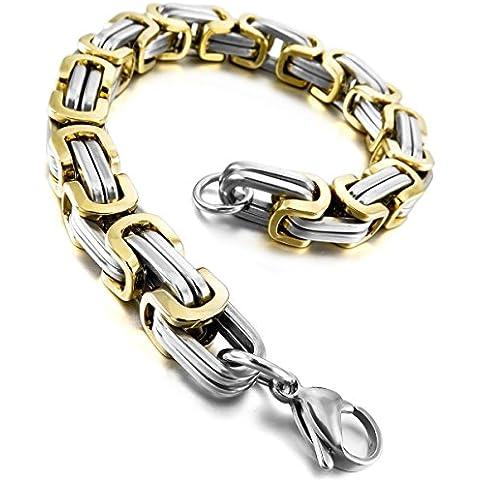 MunkiMix Acero Inoxidable Pulsera Brazalete Muñeca Eslabones Link Enlace Plata Oro Dorado Bizantino