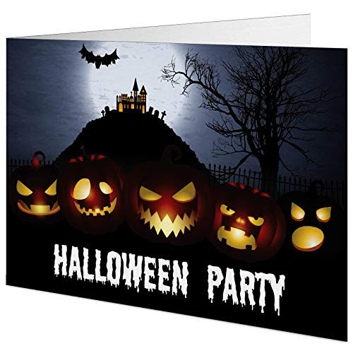 5 Halloweenparty Einladungskarten mit passenden Umschlägen, Einladungskarten zu Halloween im Set zu 5 Stk.