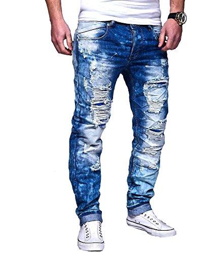 Justing - Jeans slim homme déchiré Jeans 8097 bleu - Bleu Bleu