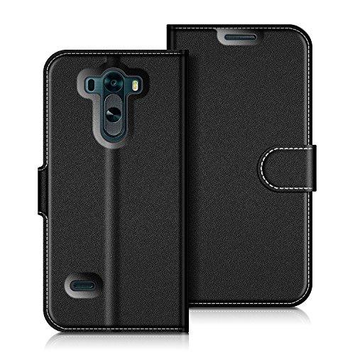 Coodio LG G3 Hülle Leder Lederhülle Ledertasche Wallet Handyhülle Tasche Schutzhülle mit Magnetverschluss / Kartenfächer für LG G3, Schwarz