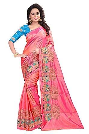 Ecolors Fab Silk Saree(Pink_Free Size)