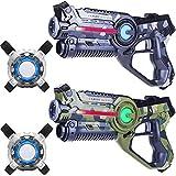 Light Battle Laser Spiel: 2X Laserpistole 2X Laser Tag Weste - Laser Game Spiel für Kinder | Camo Grau + Camo Grün | LBAPV22256