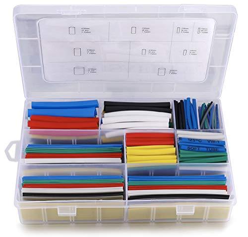 Schrumpfschlauch Set Wasserdicht Schrumpfschläuche Sortiment 385Pcs Schrumpfdimension 2:1, Heat Shrink Tube 9 Größe, 7 Farben