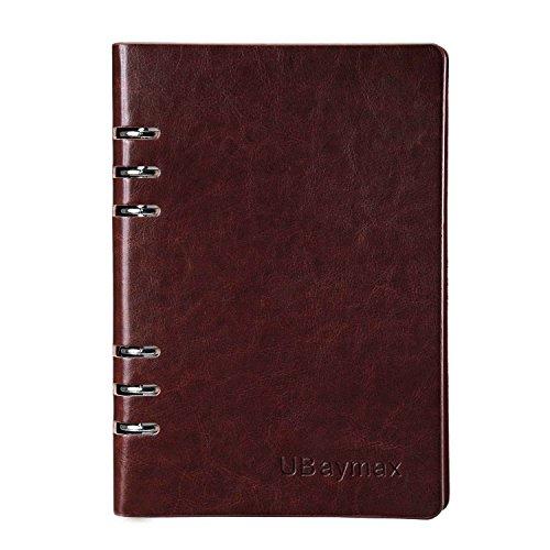 Notizbuch A5,UBaymax PU Leder Tagebuch Planer Joural Notizheft Spiralbücher für Büro Schule, Hardcover Reisetagebuch Spiralblock für Kinder Männer Frauen,90 Blatt,Liniert(Dunkel braun)