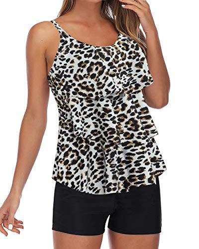 RXRXCOCO - Traje de baño Tankini de Talla Grande para Mujer con Pantalones Cortos Tankini Tops Control de Barriga Traje de baño Leopardo 50-52=Tamaño de la Etiqueta XXX-Large