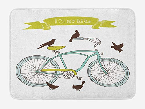 Bicycle Bath Mat, I Love My Bike Concept with Birds on The Seat Cruisers Basic Vehicle Simplistic Art, Plush Bathroom Decor Mat with Non Slip Backing, 23.6 W X 15.7 W Inches, Green Blue (Rv-monster-truck)