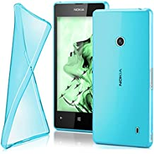 OneFlow Protective cover for Nokia Lumia 520 / 525 silicone cover case made from 0.7 mm TPU | Cover accessory to protect your mobile phone | See-through transparent bumper case in AQUA-CYAN