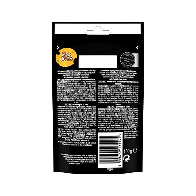 CESAR Mini-Joys - Récompenses au Fromage et au Poulet, pour Chien, 6 Sachets de 100g de Friandises