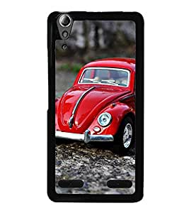 Fuson Premium 2D Back Case Cover RED CAR with Multi Background Degined for Lenovo A6000 Plus