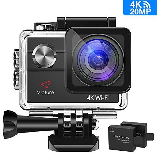 Victure Action Kamera 4K WIFI Unterwasserkamera Sport Cam 20MP Ultra HD Helmkamera Wasserdicht für Motorrad Fahrrad Reiten mit 2 Verbesserten Batterien und Zubehör Kits