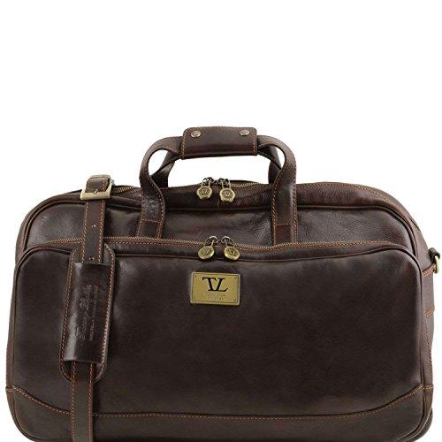 Tuscany Leather - Samoa - Sac à roulettes en cuir - Petit modèle - Marron foncé