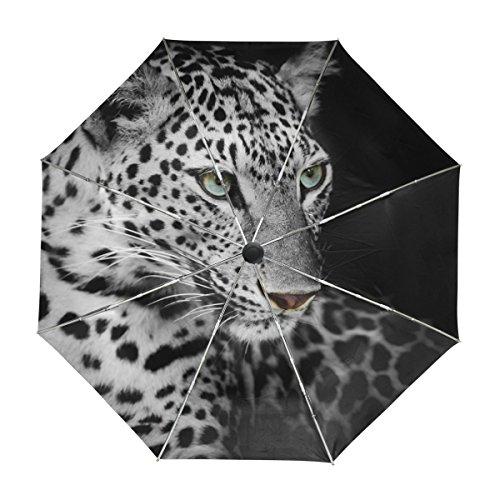 ALAZA Viajes Leopardo Salvaje Animal Paraguas de Apertura automática Cerca de Protección UV a Prueba de Viento Ligero Paraguas