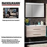 FACKELMANN Badmöbel Set B.Clever 2-tlg. 90 cm Esche mit Waschtisch Unterschrank inkl. Gussmarmorbecken & LED Spiegelschrank