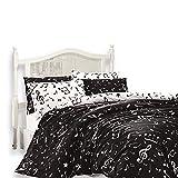 Original Bettwäsche-Set, Musiknoten Design schwarz weiß, für Einzelbett, 100% Baumwolle, 4-Teilig (Bettbezug + Flachbettlaken + 2 Kissenbezug)