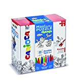Carioca 42861 – Maxi Puzzle bifacciale de coloriage avec 36 Marqueurs – City and Jungle