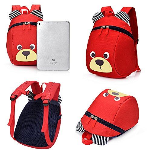 *FRISTONE Mini-sac à dos école Maternelle Enfant Bébé Filles tout-petit Sac Garçons Kindergarten Backpack Toddler avec sangles de sécurité,Rouge Achat