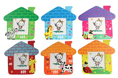 Wooden Hut Shape Photo Frame For Kids - Pack of 6