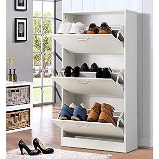 Modern Luxe ® Schuhschrank Weiss Schuhe Schrank 3 Klappen Schuhregal 60 x 24 x 120 cm Schukipper Schuhtruhe mit 6 Fächern Holzen Möbe Schuhständer Schuhe Schuhablage Schuhkommode (Weiß)