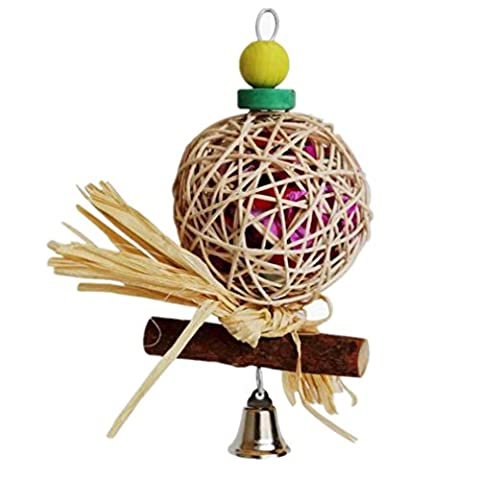 NWYJR Perroquet de jouets tous naturels bois durables à la main Non toxique Station mâcher oiseaux jouets petit perroquet de Type moyen (2PCS)