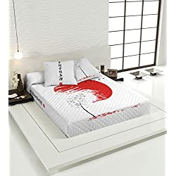 TSUKI Colcha Multipunto HINATA cama negro/blanco/rojo Zen Chillout (Cama 135)
