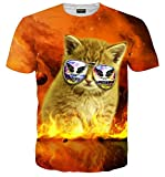 Pizoff Unisex Print Schmale Passform T Shirts mit Karikatur Katze 3D Druckmuster Feuer Katze AL067-44-M