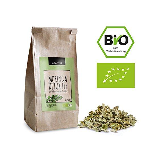 AQAYO Moringa Detox Tee | 100{9639a087e8d6c26281059291fb0a56c1594374329fae496de2f4e6d93ed9dd5b} Bio-Moringa Oleifera | Getrocknete Moringa Blätter (40g Moringa Tee)