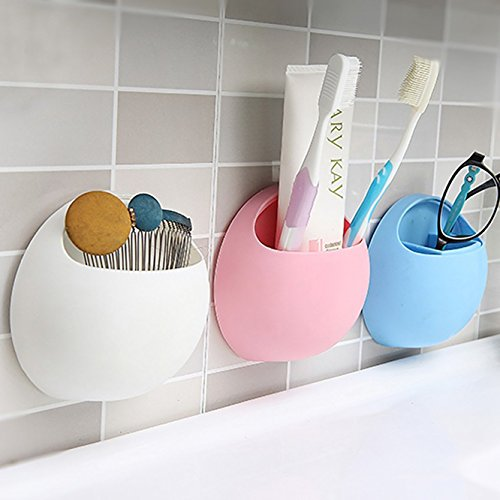 MagnusDea l® Suction holder- oval shape.New Cute Eggs Design Toothbrush Sucker Holder Suction Hooks Cup Organizer Toothbrush Rack Bathroom Kitchen Storage Size : 12 x 12 x 5 cm (1 Pcs) Assorted Color  available at amazon for Rs.199