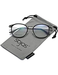 SOJOS Brille Damen Vintage Vollrand Nerdbrille Wechselgläser Silikone Nasenpolster SJ5014 mit Schwarz Gold Rahmen Z6git5AJ