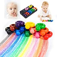Edible Crayons Toddlers Fingers Ring Shaped Crayon 12 Colors Washable Paint Crayons Sticks Toys for Babies Saf