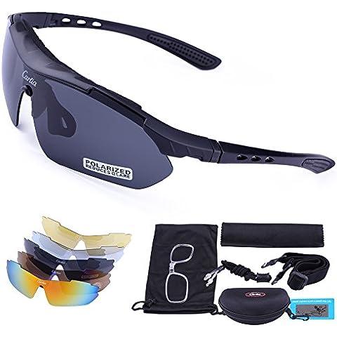 Carfia TR90 UV400 Unisex Gafas de Sol Deportivas Polarizadas 5 Lentes de Cambios Incluido para Deporte y Aire Libre Ciclismo Conducción Pesca Esquiar Golf Correr