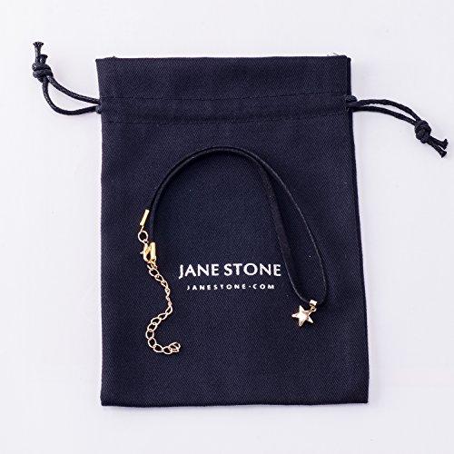 Jane Stone Collier Tatouage Ras du Cou en Velours Noir Pendentif Lune Etoile Femme Bijoux Tendance Etoile-Dore